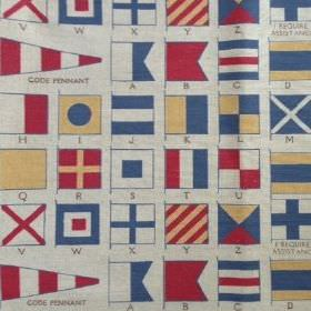 Semaphore - Blue Red - Pale grey coloured linen fabric printed with neat rows of semaphore flags in red, blue and light yellow