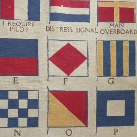 Semaphore Grande - Blue Red - Blue, red and light yellow semaphore flags printed on light grey coloured fabric made from linen