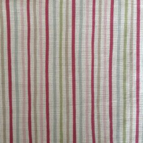 Smart Stripe - Cherry-and-Duck - Narrow stripes in mulberry and light shades of green, grey, blue and pink on a pale grey oyster linen fabri