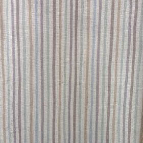Smart Stripe - Pebble - Oyster linen fabric featuring a narrow, regular vertical stripe design in light, classic shades of blue and grey