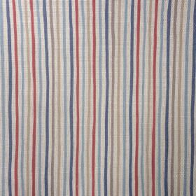 Smart Stripe - Nautical - Brick red and dark and light shades of blue and grey making up a thin, regular vertical stripe design on oyster linen