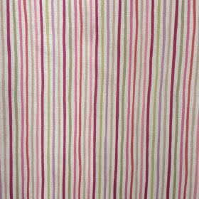 Smart Stripe - Damson-and-Greengage - Vertically striped oyster linen fabric with a narrow, regular design in maroon and light pink, green,