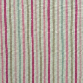 Smart Stripe - Pink-and-Duck - Light, fresh shades of pink, grey and blue making up a narrow, regular vertical stripe design on oyster linen
