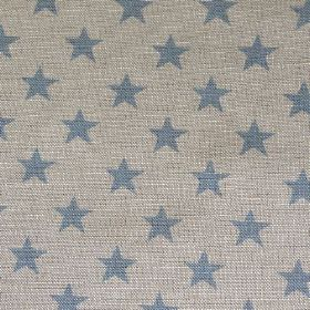 Sparkle - Sky - Rows of simple dusky blue coloured stars woven into dove grey coloured natural linen union fabric