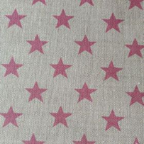 Sparkle - Rose - Natural linen union fabric made in light grey and dusky pink featuring a simple pattern of rows of stars