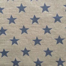 Sparkle - Denim - Star patterned natural linen union fabric featuring a simple dark blue design on a creamy grey coloured background