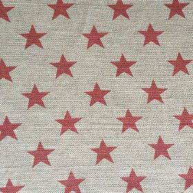 Sparkle - Scarlet - Ash grey coloured natural linen union fabric pattenred with rows of simple stars in a rich raspberry colour