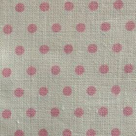 Spotty - Ballerina - Light grey 100% linen fabric patterned with light pink polka dots