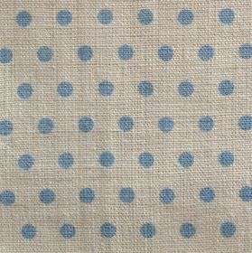 Spotty - Sky - Rows of cobalt blue coloured polka dots on a background of grey fabric made from 100% linen