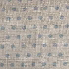 Spotty - Powder - Light blue polka dots on light grey coloured 100% linen fabric