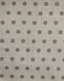 Spotty - French Grey - 100% linen fabric in light grey, with polka dots in a dark grey-brown colour