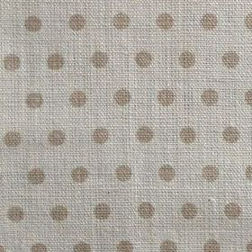 Spotty - Fudge - Fabric made from light grey 100% linen, with a pattern of polka dots in light brown