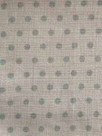 Spotty - Faded Duck - Pale duck egg blue coloured polka dots on a pale grey 100% linen fabric background