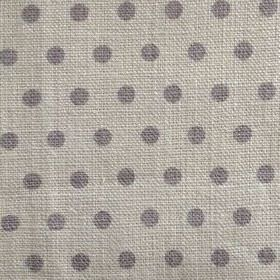 Spotty - Cool Grey - Grey polka dots which have a hint of purple, on 100% linen fabric in a very pale shade of grey