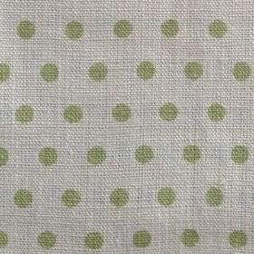 Spotty - Apple - Green and grey fabric made from 100% linen with a polka dot pattern