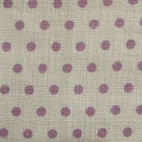 Spotty - Lavender - Fabric made from 100% linen in a cream-grey colour, with rows of polka dots in purple