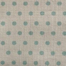 Spotty - Duck Egg - Polka dot 100% linen fabric in light aqua blue and very pale grey