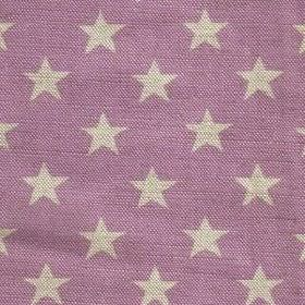 Midi Star - Liliac - Stars in cream-grey on purple fabric made from linen