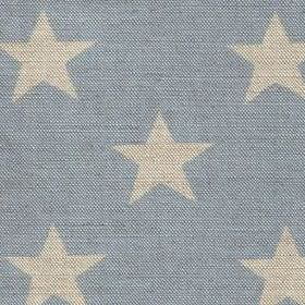 Big Star - Sky - Pale grey stars arranged in rows on light blue coloured linen fabric