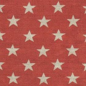 Midi Star - Scarlet - Star print linen fabric in cream and terracotta colours
