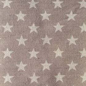 Midi Star - French Grey - Rows of pale grey stars on a darker grey-brown coloured linen fabric background