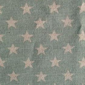 Midi Star - Duck Egg - Light turquoise coloured linen fabric as a background for a pattern of light grey stars