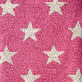 Big Star - Peony - Bright pink and off-white star print fabric made from linen