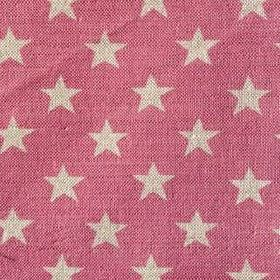 Midi Star - Rose - Strawberry and cream coloured linen fabric with a pattern of rows of stars