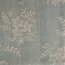 Suzi - Duck Egg - Fabric made from duck egg blue and cream coloured linen with a small, simple floral pattern