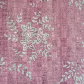 Suzi - Rose - Pink and light grey-white floral patterns which are small and simple, on fabric made from linen