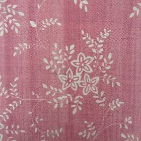 Suzi - Cherry - Dusky red linen fabric patterned with small, simple flowers and leaves