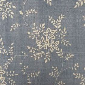 Suzi - Denim - Dark, dusky blue and cream coloured linen fabric featuring a floral pattern which is small and simple