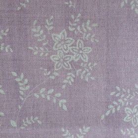 Suzi - Lavender - Floral patterned linen fabric with a small, simple design in pale grey and light pink-purple