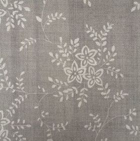 Suzi - French Grey - Two different shades of grey making up the small, simple leaf and flower pattern on this linen fabric
