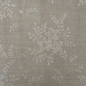 Suzi - Fudge - Green-grey fabric made from linen with light grey flowers and leaves in a small, simple design