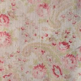 Vintage Paisley - Rhubarb - Paisley and floral patterns in light shades of pink and green on a cream coloured 100% linen fabric background