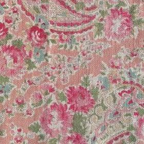 Vintage Paisley - Coral Green - Salmon pink coloured 100% linen fabric patterned with paisley shapes and florals inbright shades of pink an