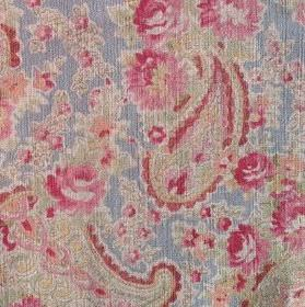 Vintage Paisley - Powder - Floral and paisley patterns in pink and light green on 100% linen fabric in light blue