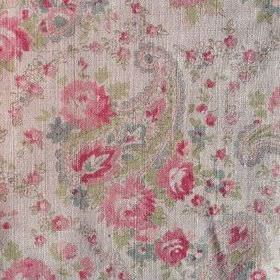 Vintage Paisley - Pink Natural - Grey-white, light blue, pink and green coloured fabric made from 100% linen, patterned with paisley shapes