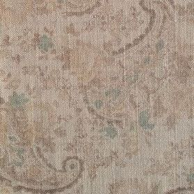 Vintage Paisley - Faded Natural - Subtly patterned 100% linen fabric with busy paisley shapes and florals, all in shades ofcream, beige and
