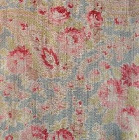 Vintage Paisley - Duck Red - Fabric made from 100% linen in light blue, patterned with green and pink flowers and paisley shapes
