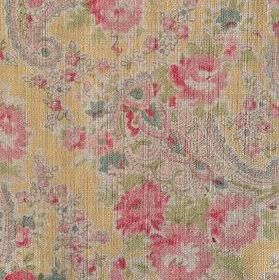 Vintage Paisley - Custard - 100% linen fabric with a busy paisley and floral pattern in green, pink, yellow and light blue-grey