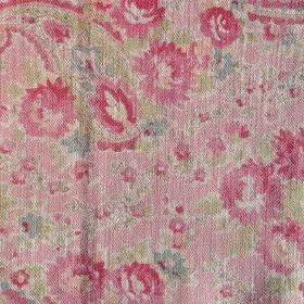 Vintage Paisley - Rose - Paisley shapes and flowers patterning 100% linen fabric in shades of pink and light green