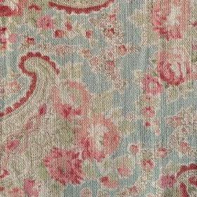 Vintage Paisley - Duck Egg - Light blue, pink and green coloured fabric made from 100% linen, with a pattern of paisley shapes and flowers