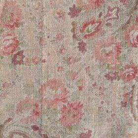 Vintage Paisley - Coral Natural - Floral and paisley print 100% linen fabric in beige and pale shades of green and pink