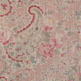 Vintage Paisley - Coral Taupe - Fabric made from 100% linen with pink, green, yellow and dark red paisley and floral patterns on a pale pink