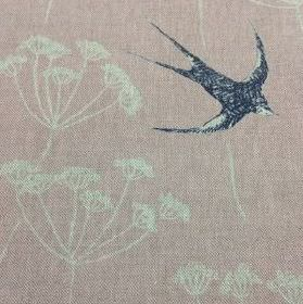 Wiveton - Pink and Ink - Swallow and dandelion print patterned natural linen union fabric made in pale grey, navy blue and very pale dusky p
