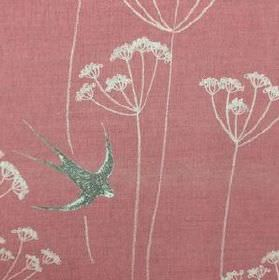 Wiveton - Red - Fabric made from dusky pink natural linen union fabric printed with dark grey swallows and simple white dandelions