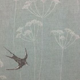 Wiveton - Faded Duck - Classic blue and grey shades making up a dandelion and swallow print on natural linen union fabric