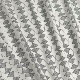Etoile - Etoile - Fabric made from 100% cotton in steel grey and white, covered with a small, very simple geometric pattern of star shapes